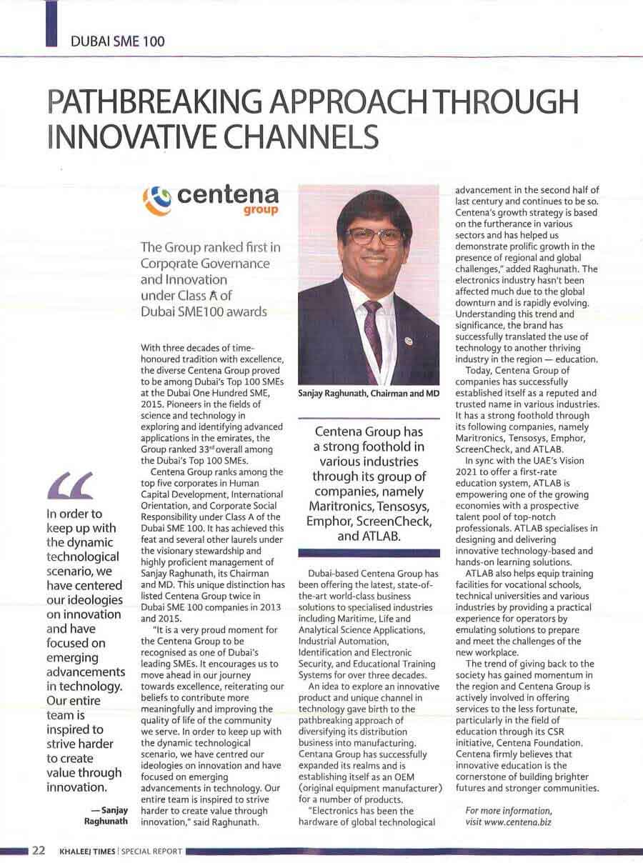 Pathbreaking Approach Through Innovative Channels - Dubai SME 100 Rankings (Khaleej Times)